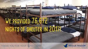 2017 shelter beds