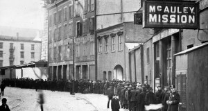 Christmas Dinner Line Outside McAuley Mission, 1905